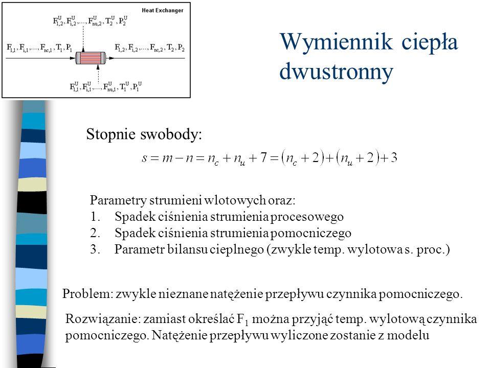 Stopnie swobody: Parametry strumieni wlotowych oraz: 1.Spadek ciśnienia strumienia procesowego 2.Spadek ciśnienia strumienia pomocniczego 3.Parametr b