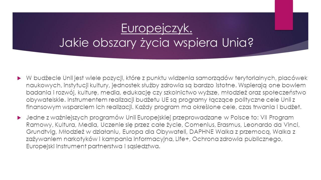 Europejczyk. Jakie obszary życia wspiera Unia? Jestem zwolennikiem Europy ojczyzn, Europy zjednoczonej, koordynowanej politycznie i stanowiącej jeden