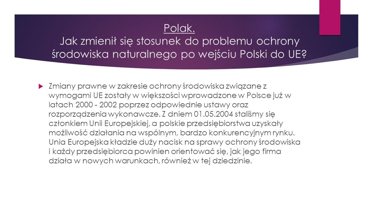 Polak. Jak zmienił się stosunek do problemu ochrony środowiska naturalnego po wejściu Polski do UE?