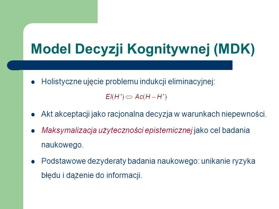Model Decyzji Kognitywnej (MDK) Holistyczne ujęcie problemu indukcji eliminacyjnej: Akt akceptacji jako racjonalna decyzja w warunkach niepewności.
