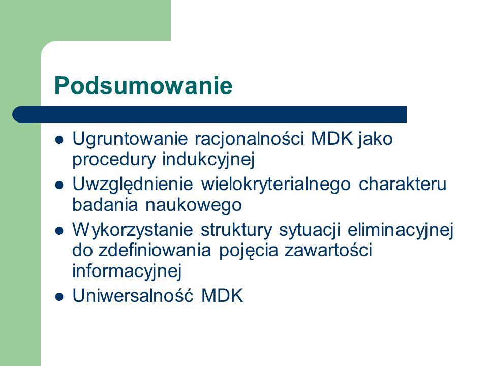 Podsumowanie Ugruntowanie racjonalności MDK jako procedury indukcyjnej Uwzględnienie wielokryterialnego charakteru badania naukowego Wykorzystanie struktury sytuacji eliminacyjnej do zdefiniowania pojęcia zawartości informacyjnej Uniwersalność MDK