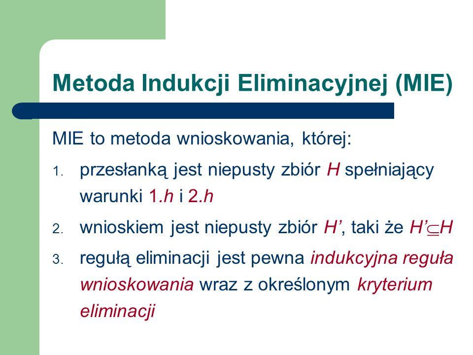 Metoda Indukcji Eliminacyjnej (MIE) MIE to metoda wnioskowania, której: 1. przesłanką jest niepusty zbiór H spełniający warunki 1.h i 2.h 2. wnioskiem