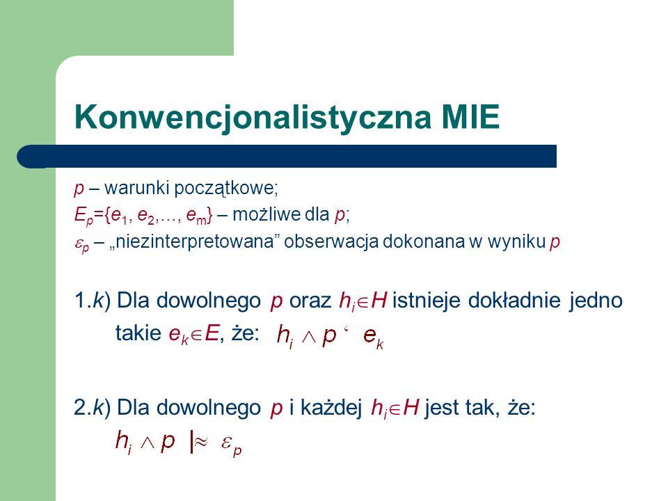 Konwencjonalistyczna MIE p – warunki początkowe; E p ={e 1, e 2,..., e m } – możliwe dla p; p – niezinterpretowana obserwacja dokonana w wyniku p 1.k)