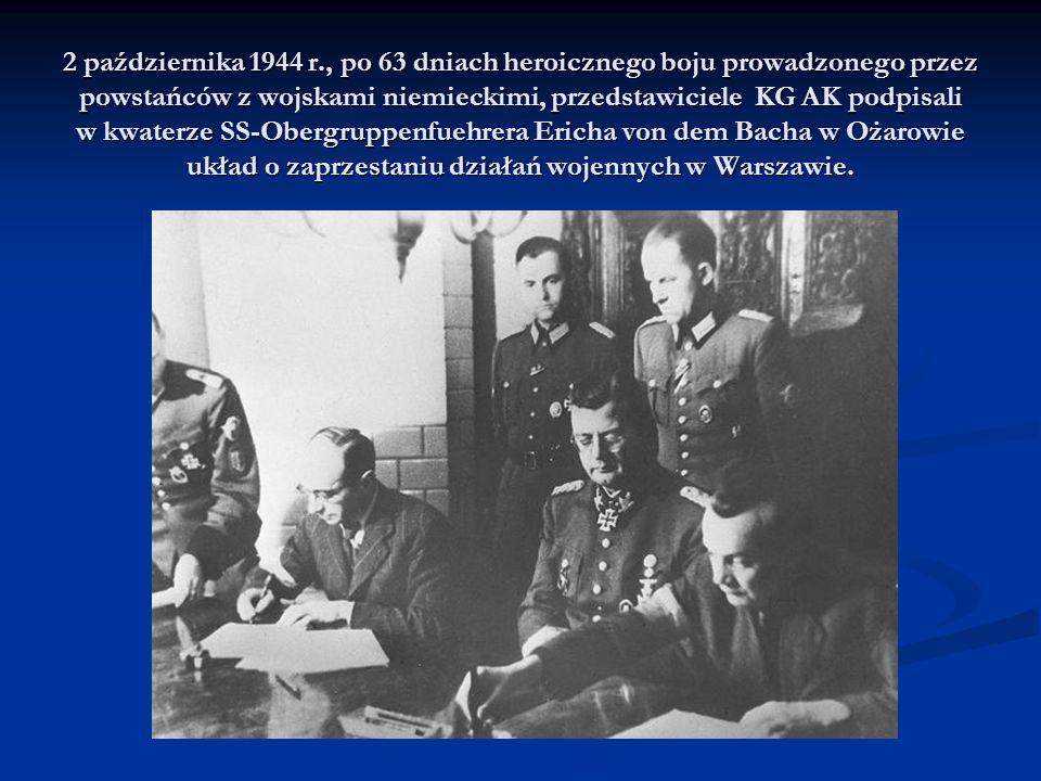 2 października 1944 r., po 63 dniach heroicznego boju prowadzonego przez powstańców z wojskami niemieckimi, przedstawiciele KG AK podpisali w kwaterze