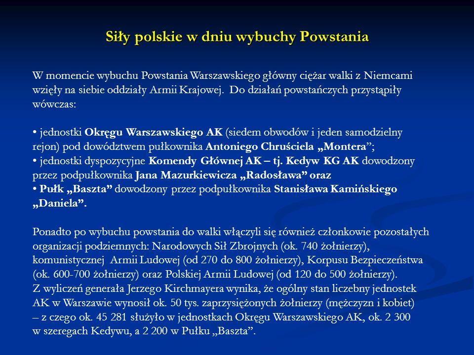 W momencie wybuchu Powstania Warszawskiego główny ciężar walki z Niemcami wzięły na siebie oddziały Armii Krajowej. Do działań powstańczych przystąpił