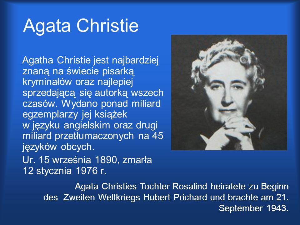 Agata Christie Agatha Christie jest najbardziej znaną na świecie pisarką kryminałów oraz najlepiej sprzedającą się autorką wszech czasów. Wydano ponad