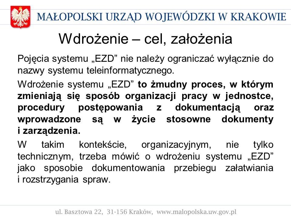 Wdrożenie – cel, założenia Pojęcia systemu EZD nie należy ograniczać wyłącznie do nazwy systemu teleinformatycznego. Wdrożenie systemu EZD to żmudny p
