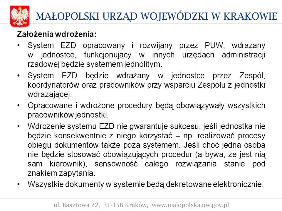 Założenia wdrożenia: System EZD opracowany i rozwijany przez PUW, wdrażany w jednostce, funkcjonujący w innych urzędach administracji rządowej będzie