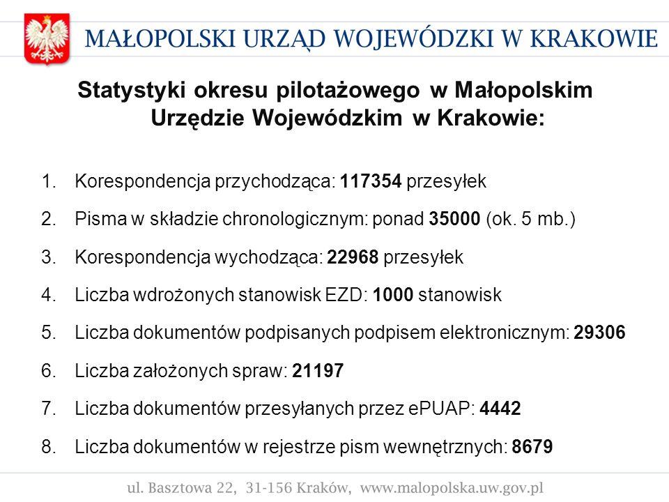 Statystyki okresu pilotażowego w Małopolskim Urzędzie Wojewódzkim w Krakowie: 1.Korespondencja przychodząca: 117354 przesyłek 2.Pisma w składzie chron