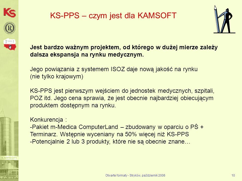 Otwarte formaty - Stryków, październik 200610 KS-PPS – czym jest dla KAMSOFT Jest bardzo ważnym projektem, od którego w dużej mierze zależy dalsza eks