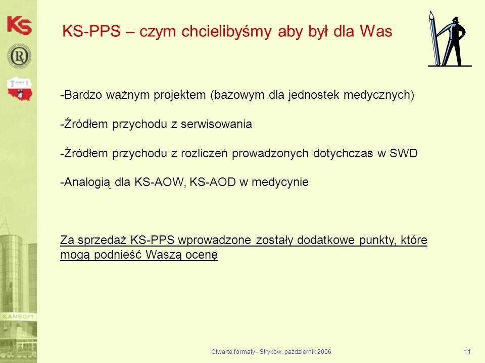 Otwarte formaty - Stryków, październik 200611 KS-PPS – czym chcielibyśmy aby był dla Was -Bardzo ważnym projektem (bazowym dla jednostek medycznych) -