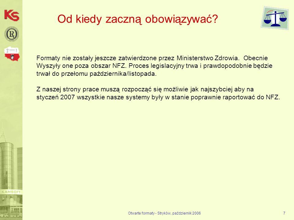 Otwarte formaty - Stryków, październik 20067 Od kiedy zaczną obowiązywać? Formaty nie zostały jeszcze zatwierdzone przez Ministerstwo Zdrowia. Obecnie