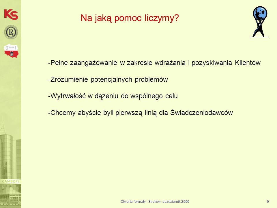 Otwarte formaty - Stryków, październik 20069 Na jaką pomoc liczymy? -Pełne zaangażowanie w zakresie wdrażania i pozyskiwania Klientów -Zrozumienie pot