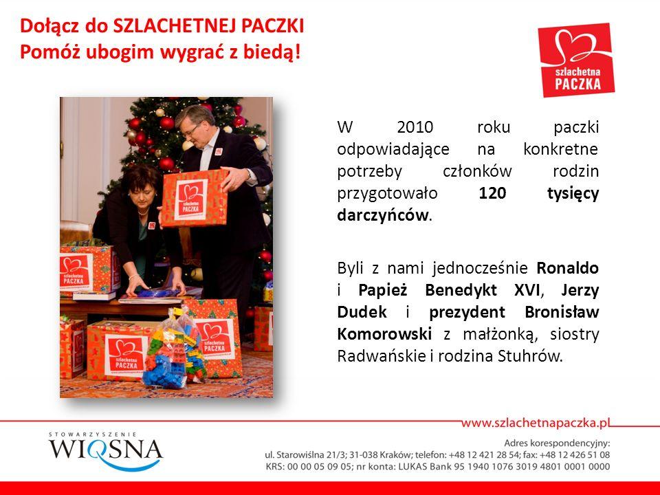 W 2010 roku paczki odpowiadające na konkretne potrzeby członków rodzin przygotowało 120 tysięcy darczyńców. Byli z nami jednocześnie Ronaldo i Papież