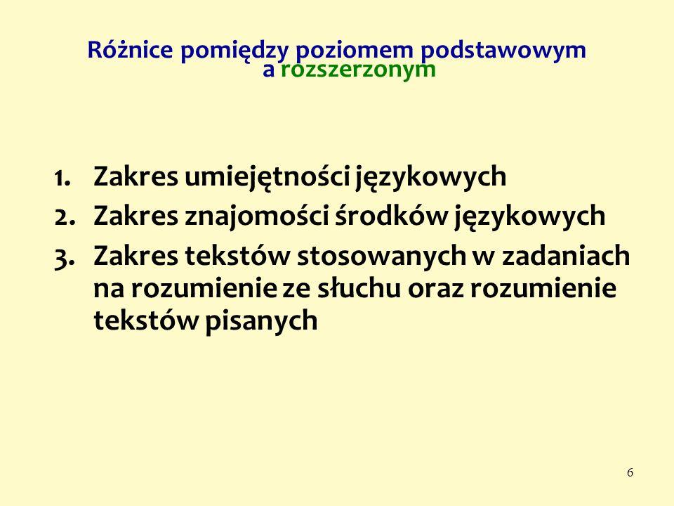 6 1.Zakres umiejętności językowych 2.Zakres znajomości środków językowych 3.Zakres tekstów stosowanych w zadaniach na rozumienie ze słuchu oraz rozumi