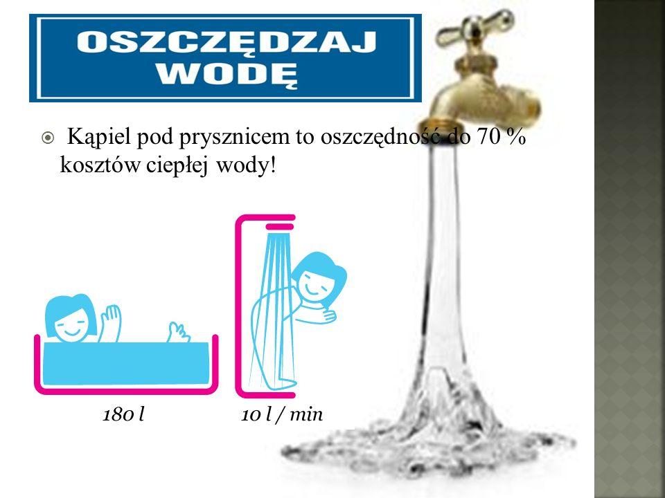 Kąpiel pod prysznicem to oszczędność do 70 % kosztów ciepłej wody!