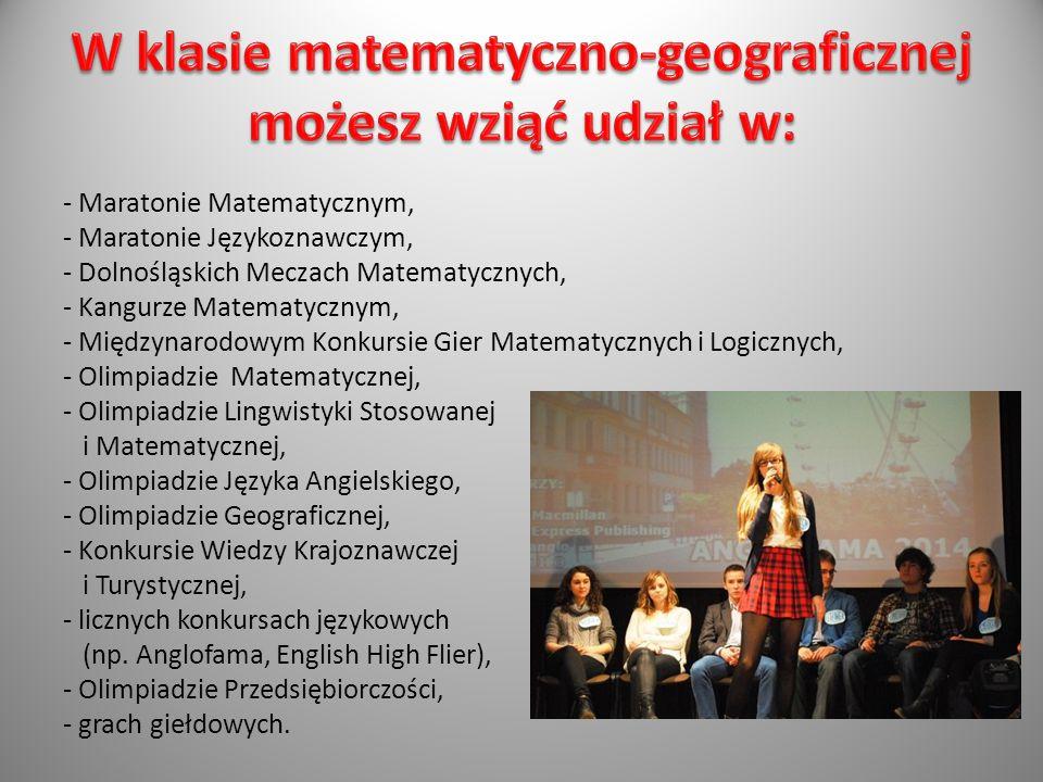 - Maratonie Matematycznym, - Maratonie Językoznawczym, - Dolnośląskich Meczach Matematycznych, - Kangurze Matematycznym, - Międzynarodowym Konkursie G