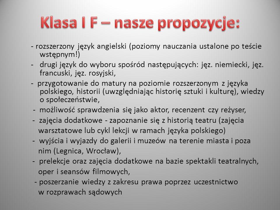 - rozszerzony język angielski (poziomy nauczania ustalone po teście wstępnym!) -drugi język do wyboru spośród następujących: jęz. niemiecki, jęz. fran