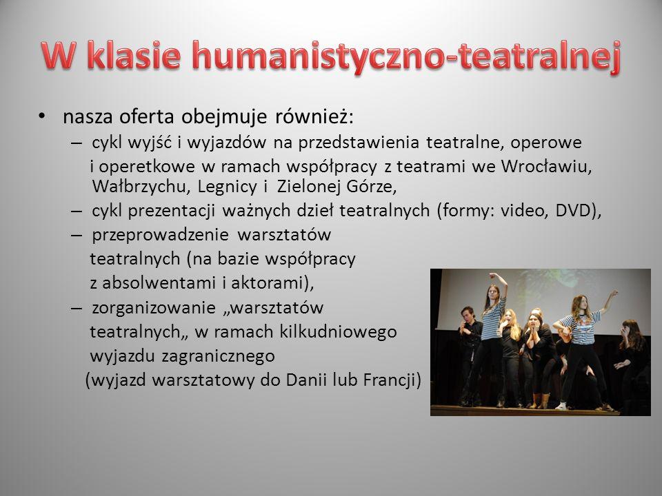 nasza oferta obejmuje również: – cykl wyjść i wyjazdów na przedstawienia teatralne, operowe i operetkowe w ramach współpracy z teatrami we Wrocławiu,