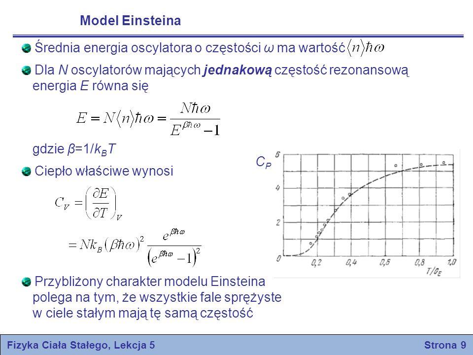 Fizyka Ciała Stałego, Lekcja 5 Strona 9 Model Einsteina Średnia energia oscylatora o częstości ω ma wartość Dla N oscylatorów mających jednakową częst