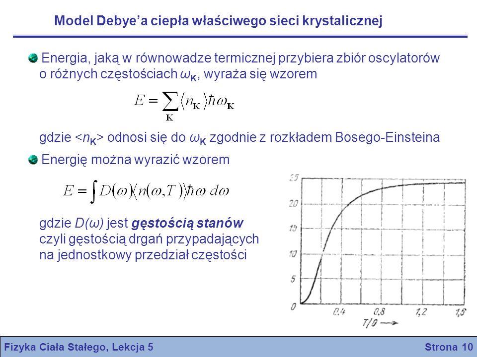 Model Debyea ciepła właściwego sieci krystalicznej Fizyka Ciała Stałego, Lekcja 5 Strona 10 Energia, jaką w równowadze termicznej przybiera zbiór oscy