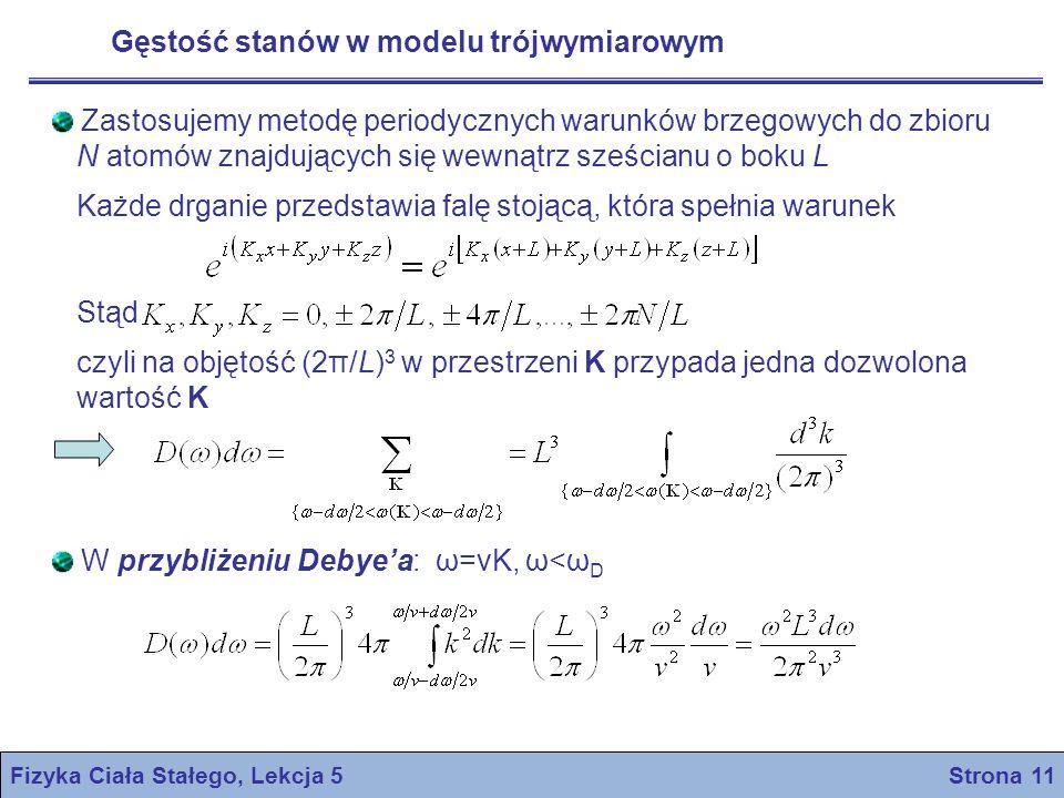 Fizyka Ciała Stałego, Lekcja 5 Strona 11 Gęstość stanów w modelu trójwymiarowym Zastosujemy metodę periodycznych warunków brzegowych do zbioru N atomó
