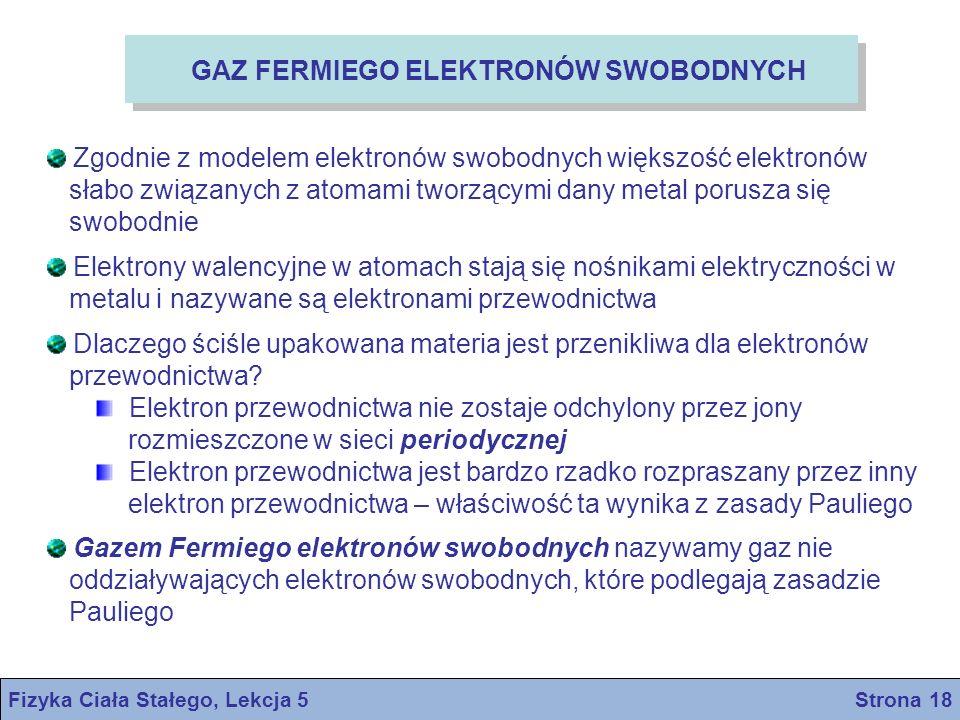 Fizyka Ciała Stałego, Lekcja 5 Strona 18 GAZ FERMIEGO ELEKTRONÓW SWOBODNYCH Zgodnie z modelem elektronów swobodnych większość elektronów słabo związan