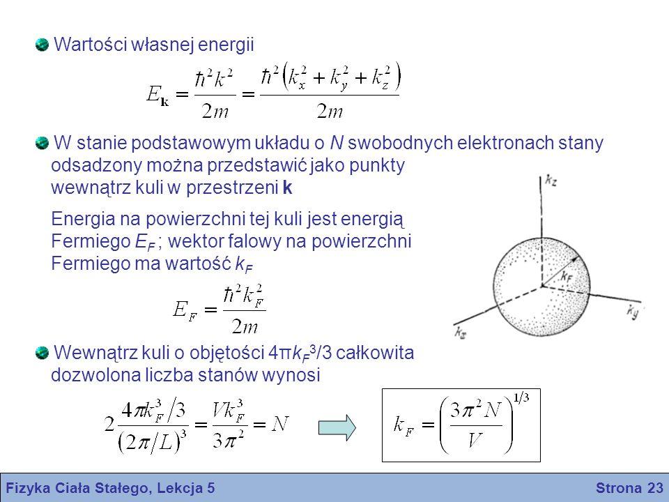 Fizyka Ciała Stałego, Lekcja 5 Strona 23 Wartości własnej energii W stanie podstawowym układu o N swobodnych elektronach stany odsadzony można przedst