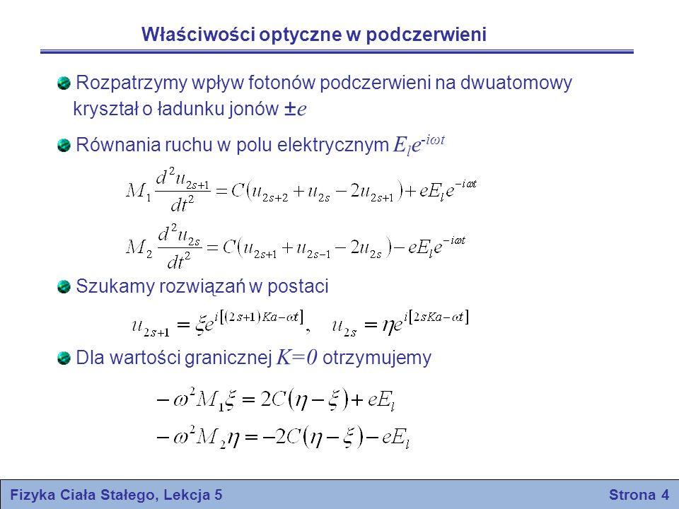 Fizyka Ciała Stałego, Lekcja 5 Strona 5 gdzie odpowiada gałęzi optycznej dla K=0 Rozwiązanie odpowiada poprzecznej fali elekromagnetycznej, w której Polaryzacja dielektryczna P zdefiniowana jest jako moment dipolowy jednostki objętości.