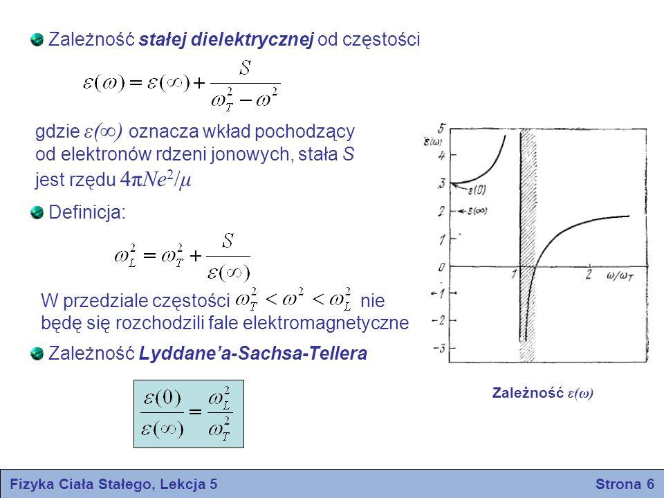 Fizyka Ciała Stałego, Lekcja 5 Strona 7 CIEPLNE WŁAŚCIWOŚCI IZOLATORÓW Ciepło właściwe sieci krystalicznej Ciepło właściwe w stałej objętości zdefiniowane jest wzorem gdzie S jest entropią, E – energią wewnętrzną, a T – temperaturą Wartość ciepła właściwego prawie wszystkich ciał stałych wynosi około 3Nk B (N jest liczbą atomów w próbce) W niskich temperaturach ciepło właściwe znacznie spada i zbliża się do zera jak T 3 dla izolatorów oraz jak T dla metali CPCP T, K