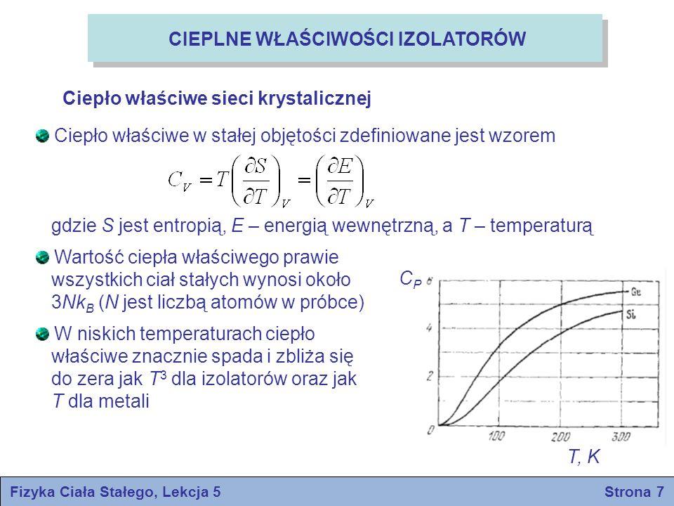 Fizyka Ciała Stałego, Lekcja 5 Strona 7 CIEPLNE WŁAŚCIWOŚCI IZOLATORÓW Ciepło właściwe sieci krystalicznej Ciepło właściwe w stałej objętości zdefinio