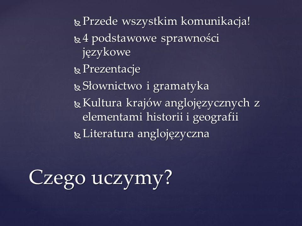 Przede wszystkim komunikacja! Przede wszystkim komunikacja! 4 podstawowe sprawności językowe 4 podstawowe sprawności językowe Prezentacje Prezentacje