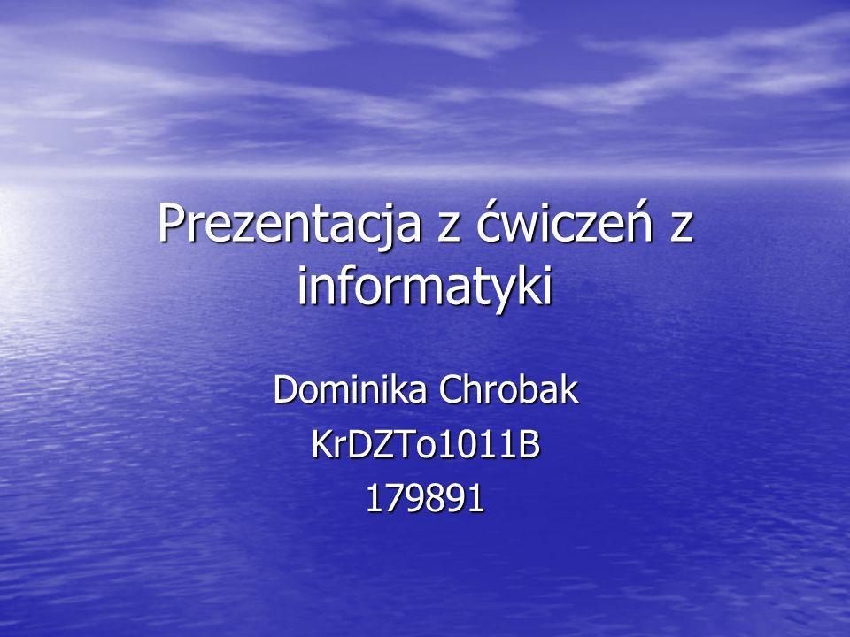 Prezentacja z ćwiczeń z informatyki Dominika Chrobak KrDZTo1011B179891
