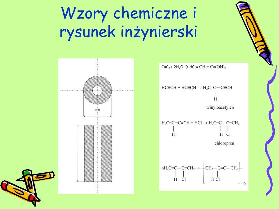 Wzory chemiczne i rysunek inżynierski