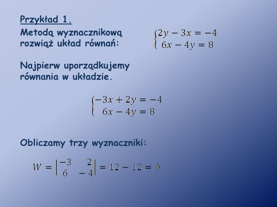 Przykład 1. Metodą wyznacznikową rozwiąż układ równań: Najpierw uporządkujemy równania w układzie.