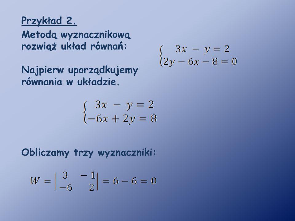 Przykład 2. Metodą wyznacznikową rozwiąż układ równań: Najpierw uporządkujemy równania w układzie.