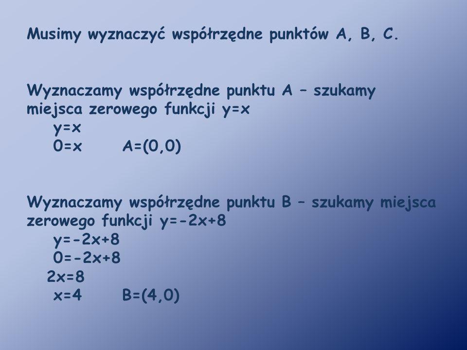 Musimy wyznaczyć współrzędne punktów A, B, C.