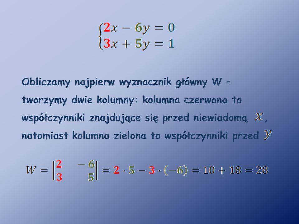 Obliczamy najpierw wyznacznik główny W – tworzymy dwie kolumny: kolumna czerwona to współczynniki znajdujące się przed niewiadomą, natomiast kolumna zielona to współczynniki przed