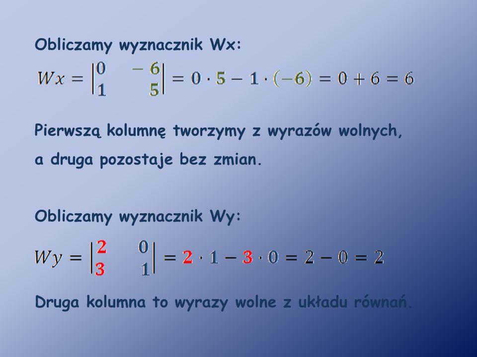 Obliczamy wyznacznik Wx: Pierwszą kolumnę tworzymy z wyrazów wolnych, a druga pozostaje bez zmian.
