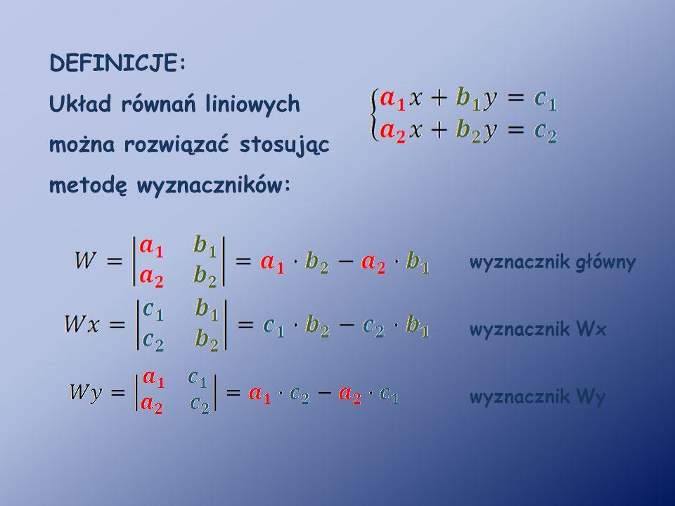 DEFINICJE: Układ równań liniowych można rozwiązać stosując metodę wyznaczników: wyznacznik główny wyznacznik Wx wyznacznik Wy