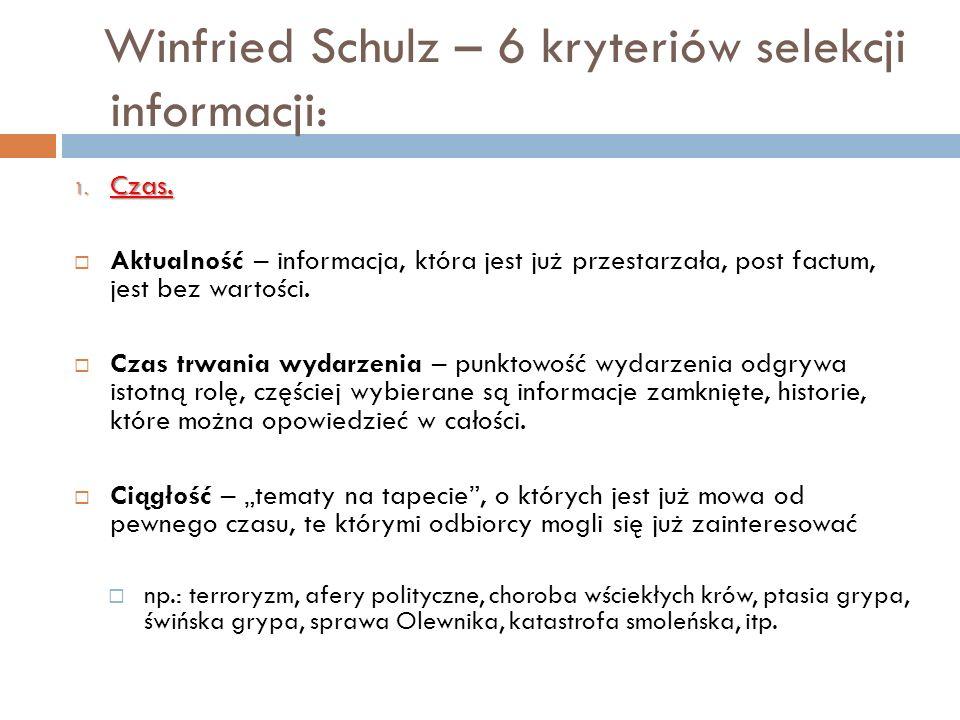 Winfried Schulz – 6 kryteriów selekcji informacji: 1. Czas. Aktualność – informacja, która jest już przestarzała, post factum, jest bez wartości. Czas