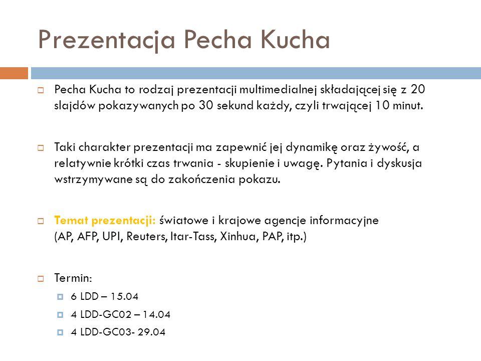 Prezentacja Pecha Kucha Pecha Kucha to rodzaj prezentacji multimedialnej składającej się z 20 slajdów pokazywanych po 30 sekund każdy, czyli trwającej