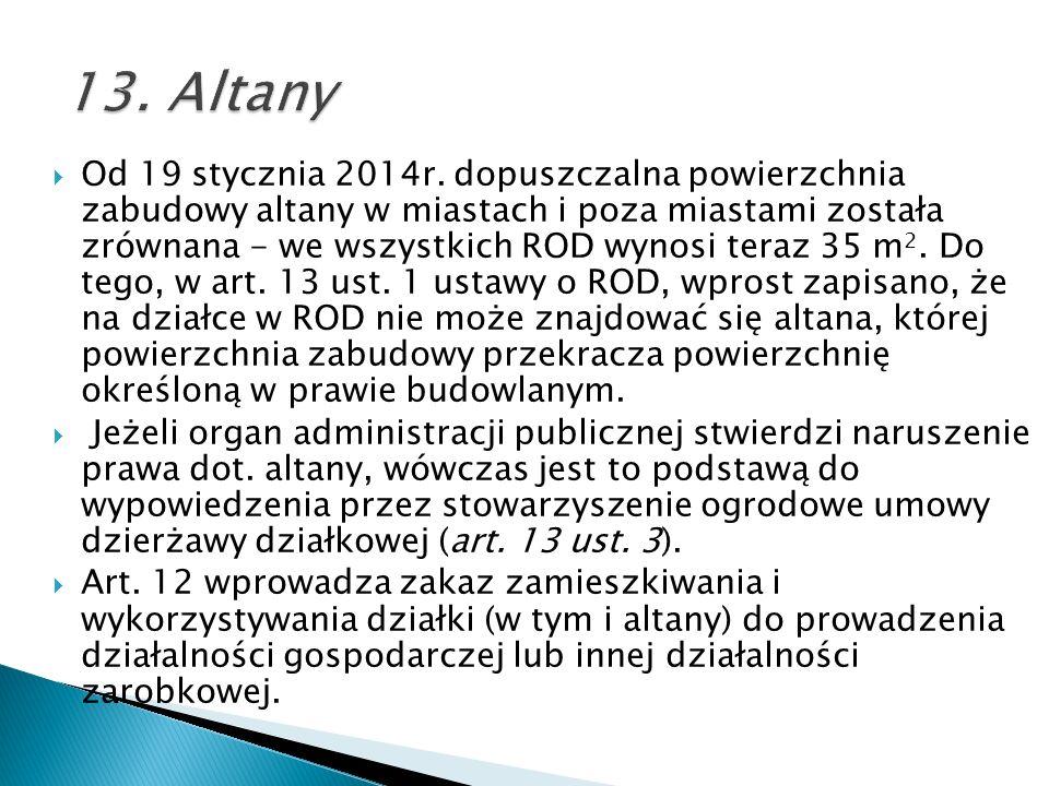 Od 19 stycznia 2014r. dopuszczalna powierzchnia zabudowy altany w miastach i poza miastami została zrównana - we wszystkich ROD wynosi teraz 35 m 2. D