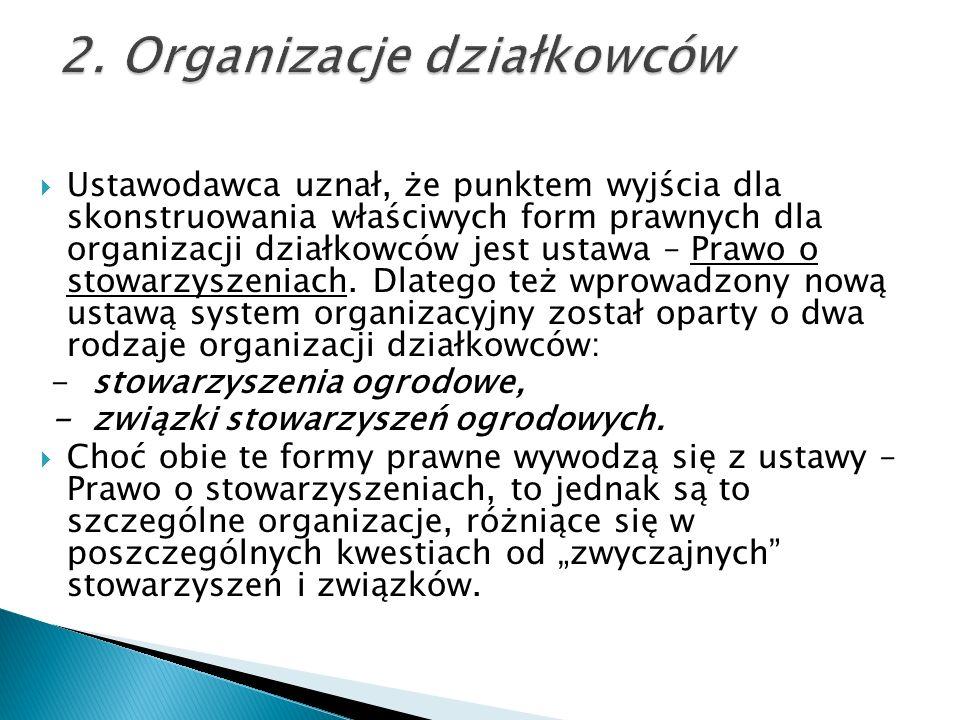 Ustawodawca uznał, że punktem wyjścia dla skonstruowania właściwych form prawnych dla organizacji działkowców jest ustawa – Prawo o stowarzyszeniach.