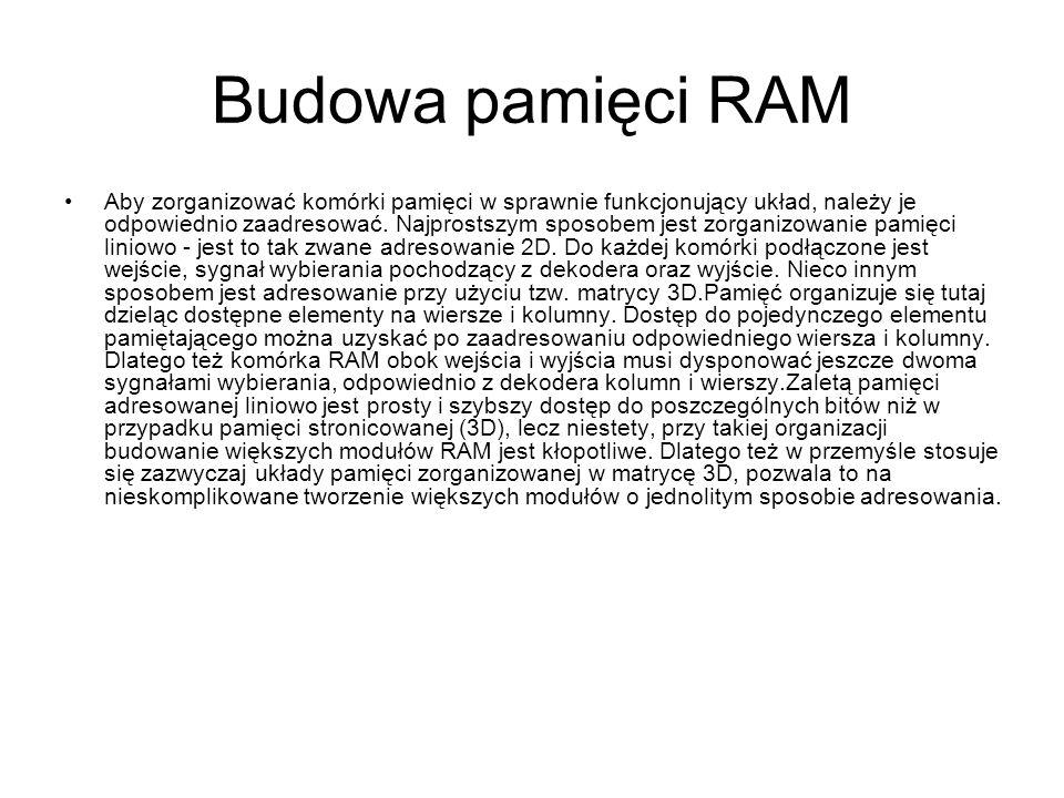 Budowa pamięci RAM Aby zorganizować komórki pamięci w sprawnie funkcjonujący układ, należy je odpowiednio zaadresować. Najprostszym sposobem jest zorg