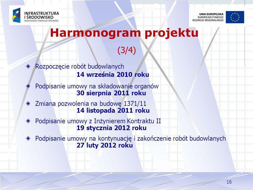 16 Rozpoczęcie robót budowlanych 14 września 2010 roku Podpisanie umowy na składowanie organów 30 sierpnia 2011 roku Zmiana pozwolenia na budowę 1371/