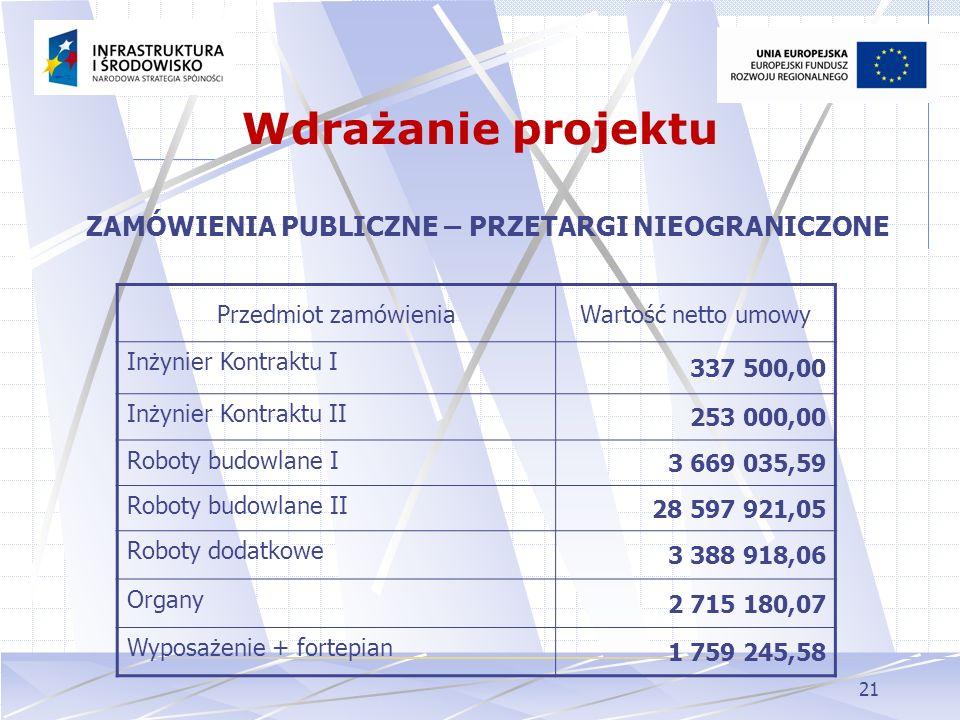 21 ZAMÓWIENIA PUBLICZNE – PRZETARGI NIEOGRANICZONE Wdrażanie projektu Przedmiot zamówieniaWartość netto umowy Inżynier Kontraktu I 337 500,00 Inżynier