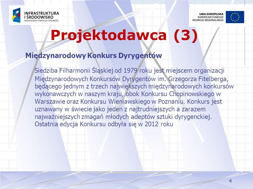 4 Projektodawca (3) Międzynarodowy Konkurs Dyrygentów Siedziba Filharmonii Śląskiej od 1979 roku jest miejscem organizacji Międzynarodowych Konkursów