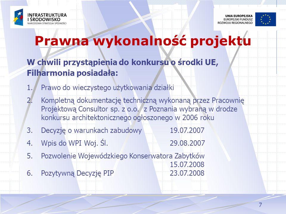 7 Prawna wykonalność projektu W chwili przystąpienia do konkursu o środki UE, Filharmonia posiadała: 1.Prawo do wieczystego użytkowania działki 2.Komp