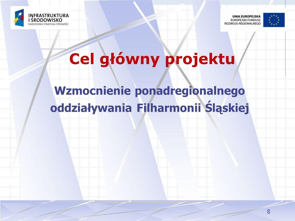 8 Cel główny projektu Wzmocnienie ponadregionalnego oddziaływania Filharmonii Śląskiej